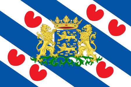 arms folded: Flag of Friesland or Frisia is a province in the northwest of the Netherlands. Vector illustration