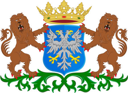 Coat of arms of Arnhem is a city and municipality, situated in the eastern part of the Netherlands. Vector illustration