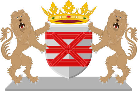 Coat of arms of Enschede also known as Eanske in the local dialect of Twents. Illustration