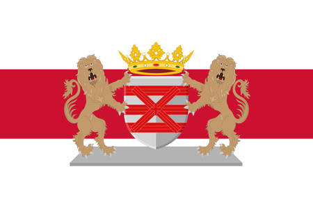 Flag of Enschede also known as Eanske in the local dialect of Twents, is a municipality and a city in the eastern Netherlands in the province of Overijssel and in the Twente region. Vector illustration Çizim