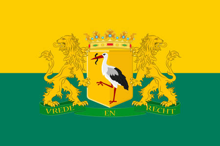 Flag of The Hague is the seat of government in the Netherlands, and the capital city of the province of South Holland. Vector illustration