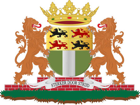 Coat of arms of Rotterdam is a city in South Holland, the Netherlands. Vector illustration Illustration