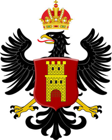 Coat of arms of Middelburg is a municipality and a city in the south-western Netherlands and the capital of the province of Zeeland. Vector illustration
