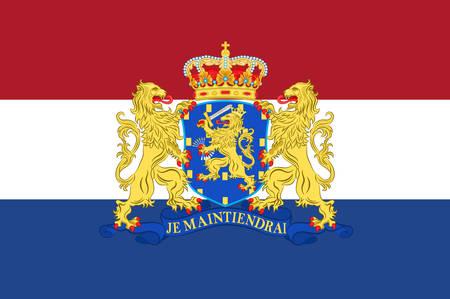 Flag of Netherlands or Kingdom of the Netherlands. Vector illustration