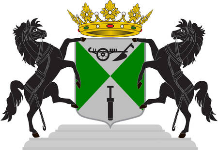 Coat of arms of Emmen is a municipality and a town in the northeastern Netherlands. Vector illustration