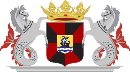 アルメラの紋章付き外衣は計画された都市とフレーボランド州、オランダ、レリスタット、ゼーヴォルデに接する自治体です。ベクトル図