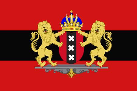 Vlag van Amsterdam is de hoofdstad en populairste stad van het Koninkrijk der Nederlanden. Vector illustratie