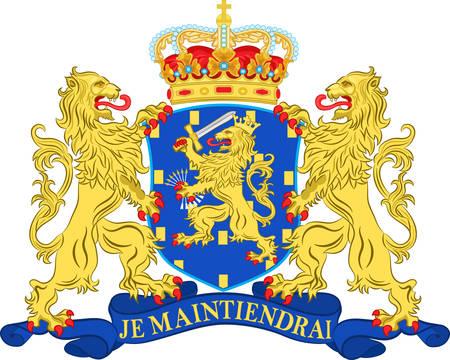 Coat of arms of Netherlands or Kingdom of the Netherlands. 3d illustration