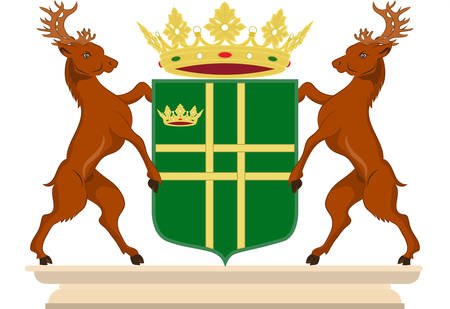 Coat of arms of Aa en Hunze is a municipality in the northeastern Netherlands. Vector illustration Illustration