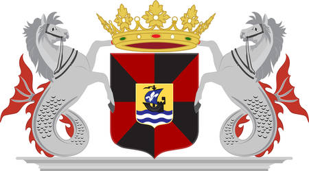 Coat of arms of Almere is a planned city and municipality in the province of Flevoland, Netherlands, bordering Lelystad and Zeewolde. Vector illustration