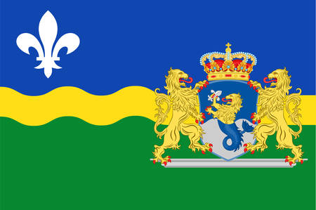 Flag of Flevoland is a province of the Netherlands. Vector illustration Illustration
