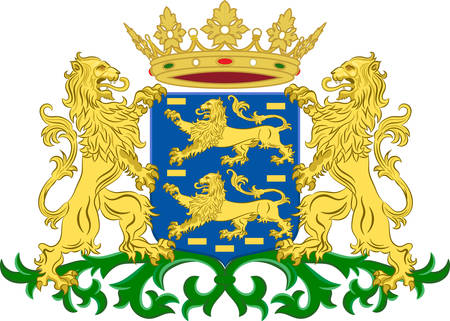 Coat of arms of Friesland or Frisia is a province in the northwest of the Netherlands. Vector illustration