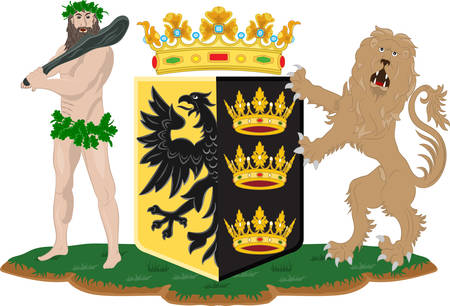 Coat of arms of Sneek is a city southwest of Leeuwarden and seat of the former municipality of Sneek in the province of Friesland in Netherlands. Vector illustration