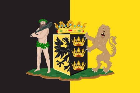 Flag of Sneek is a city southwest of Leeuwarden and seat of the former municipality of Sneek in the province of Friesland in Netherlands. Vector illustration Illustration