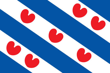 Flag of Friesland or Frisia is a province in the northwest of the Netherlands. Vector illustration