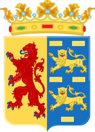 Wapenschild van Noord-Holland is een provincie in het noordwesten van Nederland. Vector illustratie