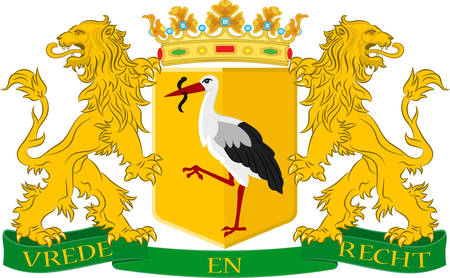Coat of arms of The Hague is the seat of government in the Netherlands, and the capital city of the province of South Holland. Vector illustration