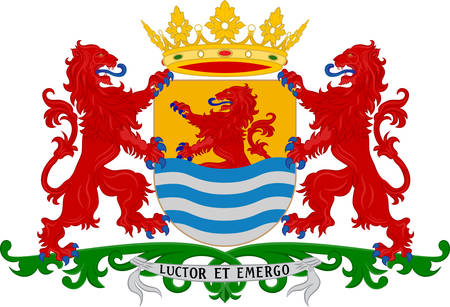 Coat of arms of Zeeland is the westernmost province of the Netherlands. Vector illustration