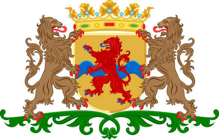 the hague: Coat of arms of Overijssel or Overissel is a province of the Netherlands in the central-eastern part of the country. Vector illustration Illustration