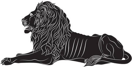 Le lion couché - le symbole héraldique utilisé dans les drapeaux et les armoiries