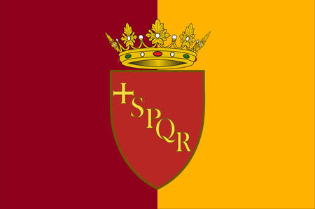 Flag of Rome is a city and special comune in Italy. Rome is the capital of Italy and of the Lazio region. Vector illustration