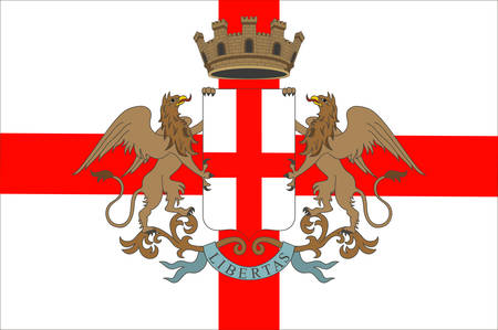 Flag of Genoa is the capital of Liguria and the sixth largest city in Italy. Vector illustration