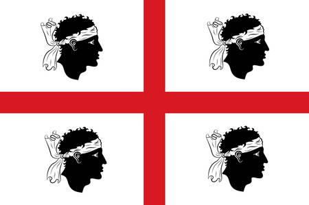 사르데냐의 국기는 지중해에서 두 번째로 큰 섬이자 이탈리아의 자치 지역입니다. 벡터 일러스트 레이 션