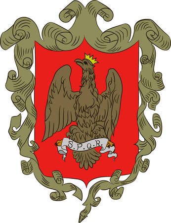 Coat of arms of Palermo is a city in Insular Italy, the capital of both the autonomous region of Sicily and the Metropolitan City of Palermo. Vector illustration