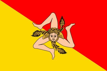 Flag of Sicily is the largest island in the Mediterranean Sea. It constitutes an autonomous Region of Italy. Vector illustration Ilustração