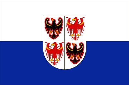 Flag of Trentino-Alto Adige Sudtirol is an autonomous region in Northern Italy. Vector illustration