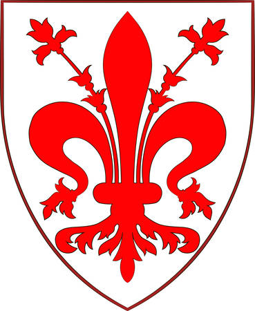 Coat of arms of Florence is the capital city of the Italian region of Tuscany and of the Metropolitan City of Florence. Vector illustration Illustration