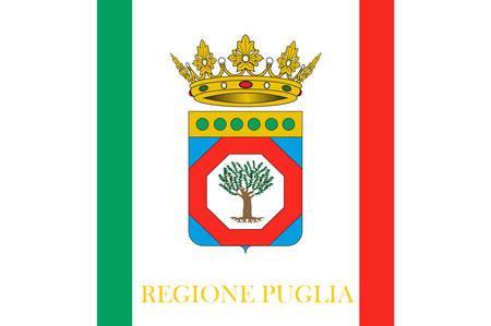 Flag of Apulia is a region of Italy. Vector illustration Illustration