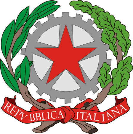 Coat of arms of Italy officially the Italian Republic is a unitary parliamentary republic in Europe. Vector illustration