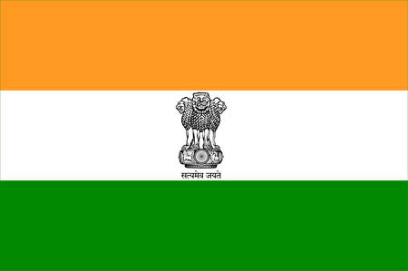 Flag of India, officially the Republic of India is a country in South Asia. Vector illustration