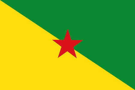 Flag of French Guiana is an overseas department and region of France, located on the north Atlantic coast of South America in the Guyanas. Vector illustration