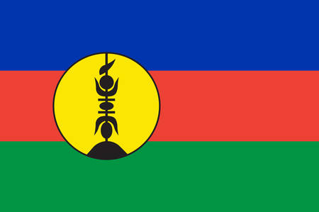 Flag of New Caledonia is a special collectivity of France located in the southwest Pacific Ocean, east of Metropolitan France. Vector illustration