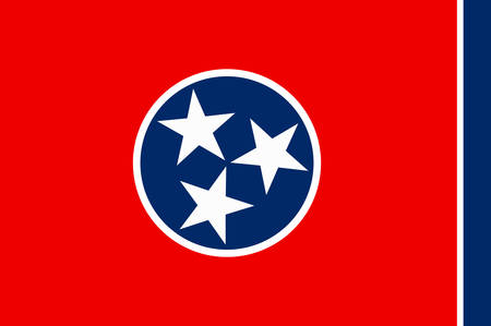 Flag of Tennessee is a state of United States. Vector illustration