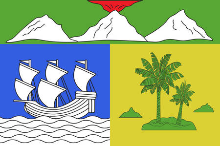bourbon: Flag of Saint-Denis is the prefecture of the French overseas region and department of Reunion, in the Indian Ocean. Vector illustration Illustration