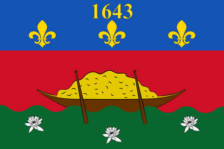 ensign: Flag of French Guiana is an overseas department and region of France, located on the north Atlantic coast of South America in the Guyanas. Vector illustration