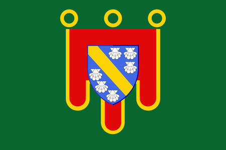 aurillac: Flag of Cantal is a department in south-central France and is part of the current region of Auvergne-Rhone-Alpes, with its capital at Aurillac. Vector illustration