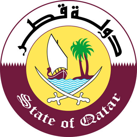 Coat of arms of Qatar is a sovereign country located in Southwest Asia, occupying the small Qatar Peninsula on the northeastern coast of the Arabian Peninsula. Vector illustration