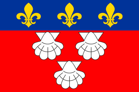 aurillac: Flag of Aurillac is a French commune, capital of the Cantal department, in the Auvergne region of south-central France. Vector illustration