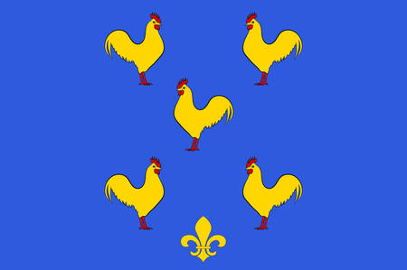 Flag of Yssingeaux is a commune and sous-prefecture in the Haute-Loire department in south-central France. Vector illustration