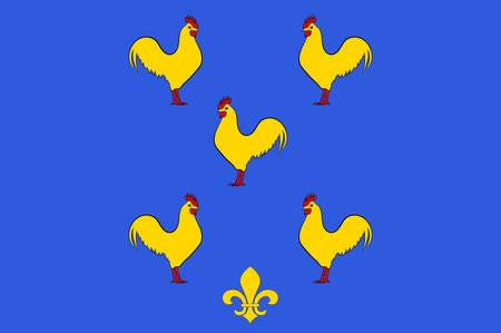 Vlag van Yssingeaux is een gemeente en sous-prefectuur in het departement Haute-Loire in het zuiden van centraal Frankrijk. Vector illustratie