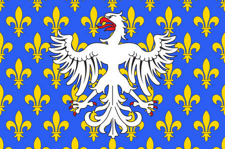 Vlag van Le Puy-en-Velay is een gemeente in het departement Haute-Loire in het zuiden van Frankrijk. Vector illustratie