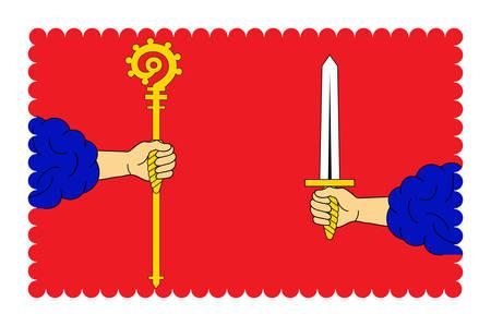 Vlag van Haute-Loire is een departement in Zuid-centraal Frankrijk. Vector illustratie
