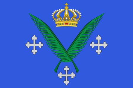 Vlag van Saint-Etienne is de hoofdstad van het departement Loire in het oosten van Midden-Frankrijk. Vector illustratie