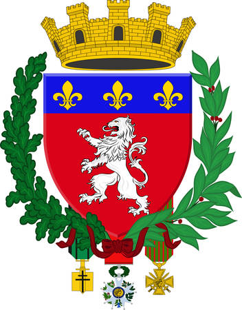 Coat of arms of Lyon or Lyons is a city in east-central France, in the Auvergne-Rhone-Alpes region. Vector illustration