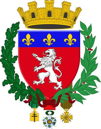 Wapenschild van Lyon of Lyon is een stad in Oost-centraal Frankrijk, in de regio Auvergne-Rhône-Alpes. Vector illustratie
