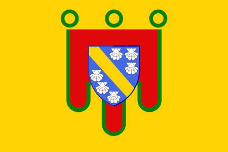 administrativo: Flag of Cantal es un departamento en el centro-sur de Francia y forma parte de la actual región de Auvergne-Rhone-Alpes, con su capital en Aurillac. Ilustración vectorial